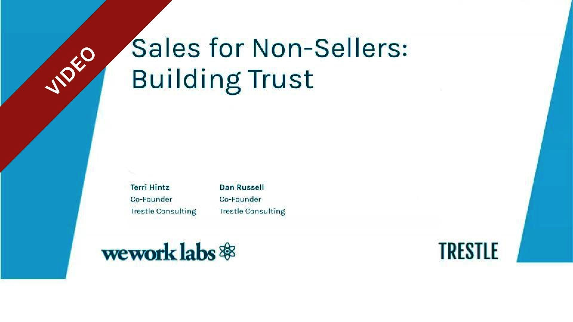 Sales for Non-Sellers: Building Trust