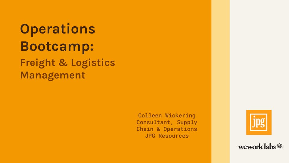 Operations Bootcamp: Freight and Logistics Management