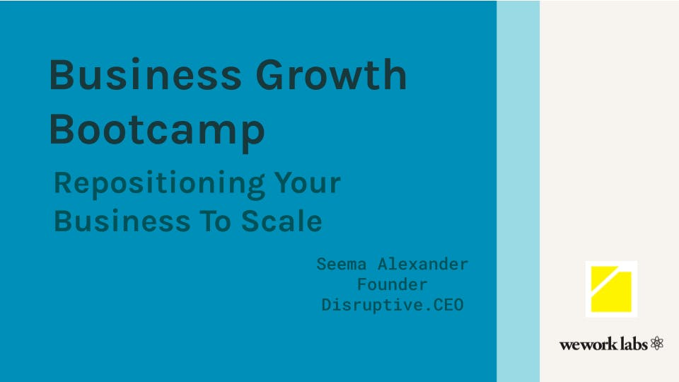 Business Growth Bootcamp: Repositioning Your Business To Scale